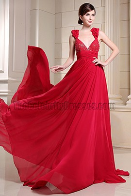 Sexy Backless Red Chiffon Formal Dress Prom Evening Dresses