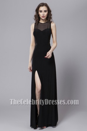Sexy Black See Through Back Prom Evening Dresses