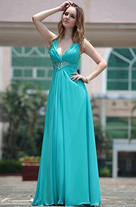 Sexy Blue Beaded V-Neck Bridesmaid Prom Dresses