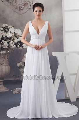 Sexy Chapel Train Deep V-Neck A-Line Chiffon Wedding Dress