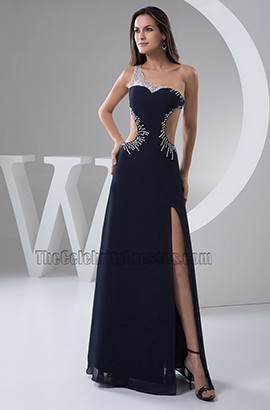 Sexy Dark Navy Backless Beaded Prom Evening Dresses