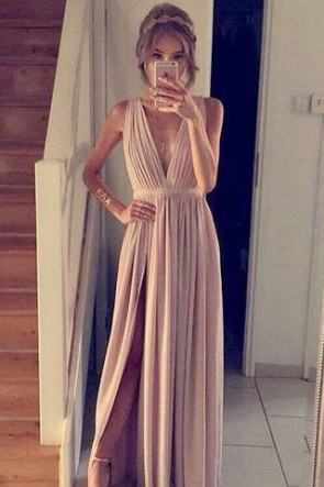 Sexy Deep V-Neckline Evening Dress Prom Gown With A High Split TCD7294