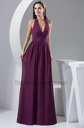 Sexy Grape Halter Chiffon Prom Gown Evening Formal Dress