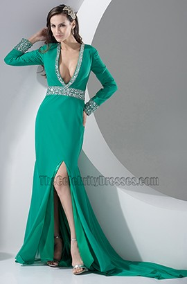 Sexy Hunter Long Sleeve Deep V-Neck Evening Dress Prom Gown
