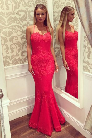 Sexy Mermaid Red Lace Appliques Evening Gowns Prom Formal Dresses TCD7299