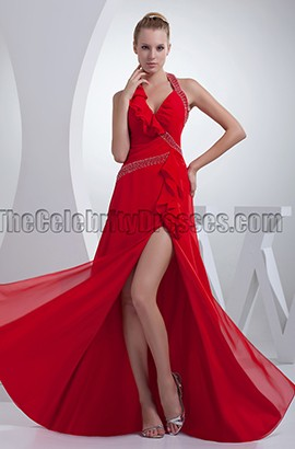 Sexy Red Halter Evening Gown Prom Formal Dresses