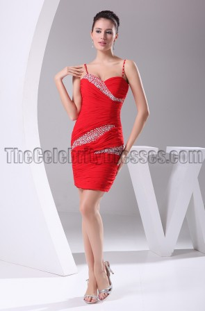 Sexy Red Mini Beaded Party Cocktail Homecoming Dresses