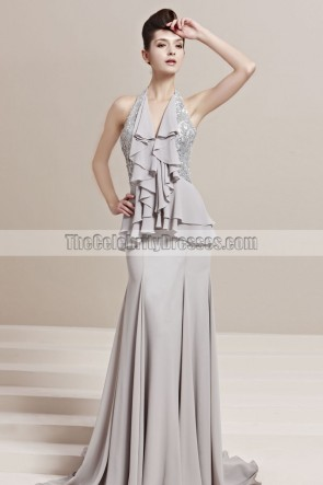 Sexy Silver Mermaid Halter Sequined Evening Prom Dresses