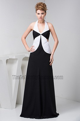 Sexy White And Black Floor Length Halter Prom Evening Dresses