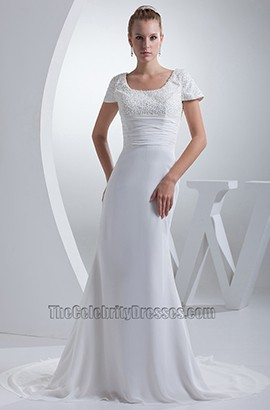 Sheath / Column Cap Sleeves Chapel Train Wedding Dresses