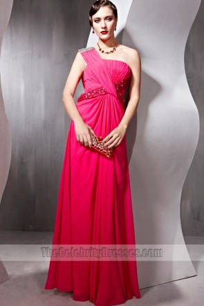 Sheath/Column Fuchsia One Shoulder Formal Dress Prom Evening Gown