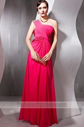 Sheath/Column Fuchsia One Shoulder Formal Dress Prom Evening Gown
