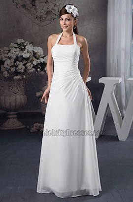 Sheath/Column Halter Floor Length Wedding Dress Bridal Gown