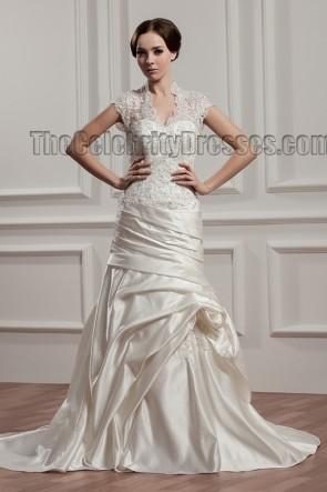 Sheath /Column V-Neck Lace Taffeta Wedding Dresses