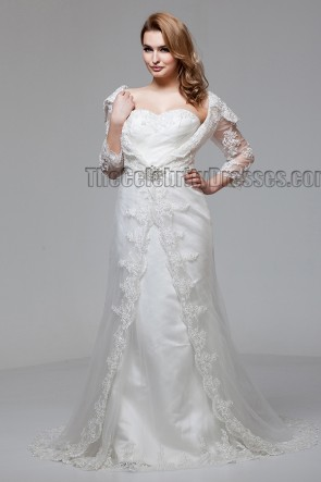 Sheath/Column Off The Shoulder Lace Wedding Dresses