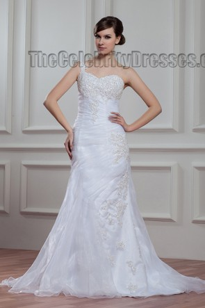 Sheath/Column One Shoulder Beaded Sweep/Brush Train Wedding Dress