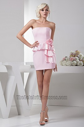 Sheath/Column Pink Strapless Cocktail Party Homecoming Dresses