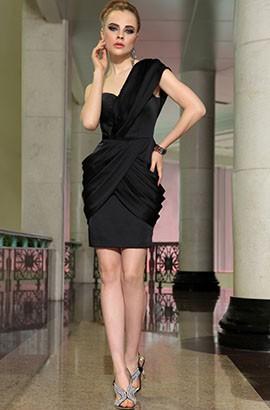 Sheath/Column Short Black One Shoulder Cocktail Party Dresses