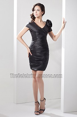 Sheath/Column Short Black V-Neck Party Homecoming Dress