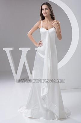 Sheath/Column Spaghetti Straps Sweep/Brush Train Wedding Dress