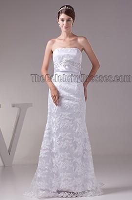 Sheath/Column Strapless Beaded Floor Length Wedding Dress