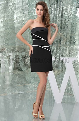 Sheath/Column Strapless Black Cocktail Party Graduation Dresses