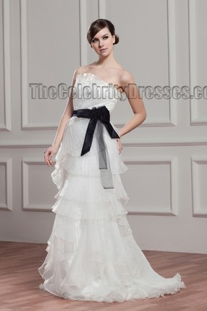 Sheath/Column Strapless Organza Wedding Dress With A Black Belt