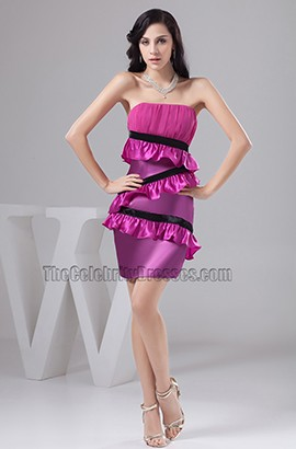 Sheath/Column Strapless Purple Party Cocktail Dresses