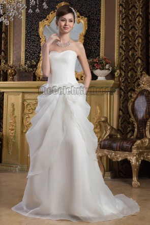 Sheath /Column Strapless Sweetheart Organza Wedding Dresses