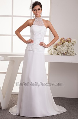 Sheath/Column Sweep Brush Train Halter Chiffon Wedding Dress