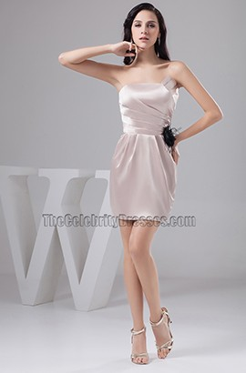 Sheath/Column Short Mini Strapless Party Homecoming Dresses