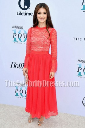 Shiri Appleby Red Lace Long Sleeves Prom Gown Hollywood Reporter's Annual Women TCD7035