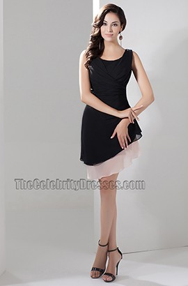 Short Black A-Line Cocktail Party Homecoming Dresses