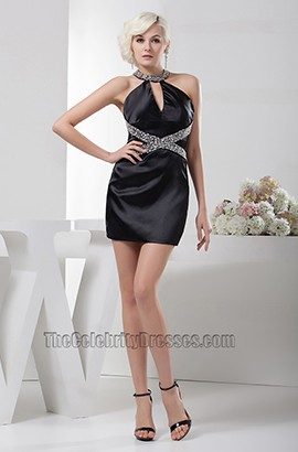 Chic Short Mini Black Halter Beaded Party Homecoming Dresses