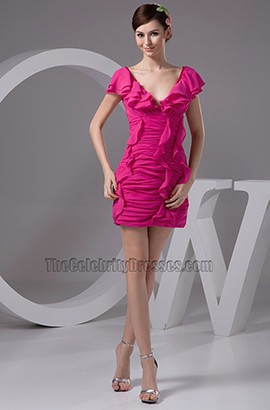 Short Mini Fuchsia V-Neck Ruffles Party Homecoming Dresses