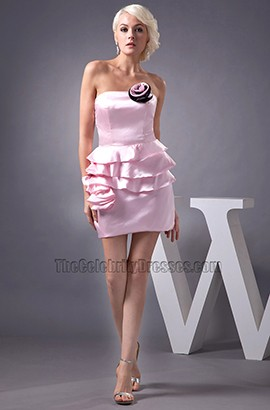 Short Mini Pink Strapless Homecoming Party Dresses