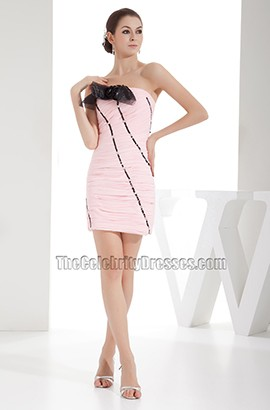 Short Mini Pink Strapless Ruffles Party Homecoming Dresses