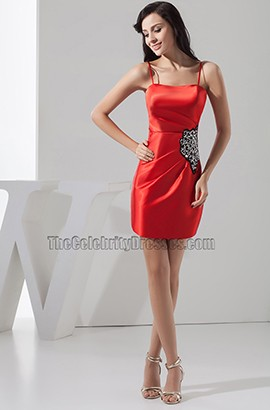 Discount Short Mini Red Spaghetti Straps Party Homecoming Dresses