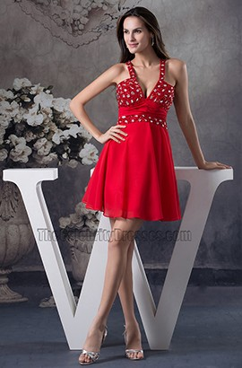 Sexy Backless Beaded Red Party Homecoming Dresses