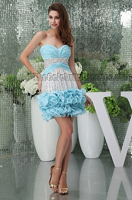 Chic Short/ Mini Strapless Sweetheart Beaded Party Graduation Dresses