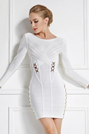 Short Mini White Long Sleeve Bandage Party Cocktail Dresses TCD5906