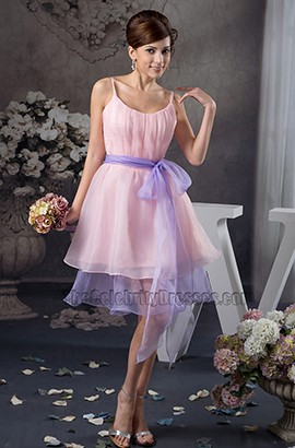 Short Pink And Lavender Organza Party Homecoming Dresses