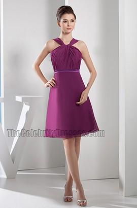 Discount Short Purple Chiffon A-Line Party Cocktail Dresses