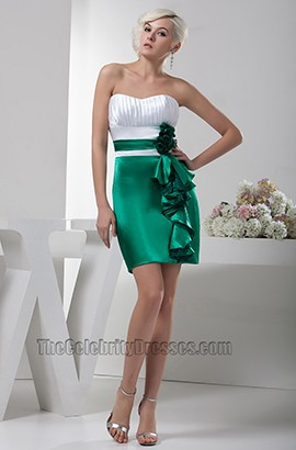 White And Green Sweetheart Strapless Party Homecoming Dresses