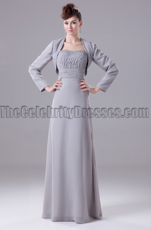 Silver Chiffon Strapless Formal Dress Prom Gown
