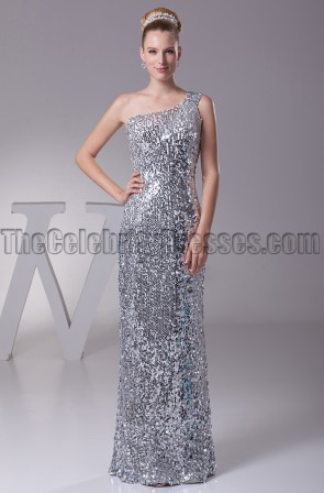 Silver Sequined One Shoulder Prom Gown Evening Dresses