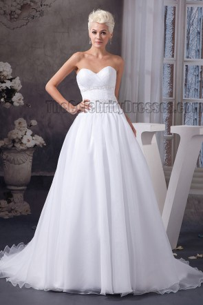 Simple A-Line Sweetheart Strapless Beaded Wedding Dresses
