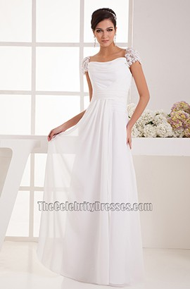 Simple Cap Sleeves Chiffon Floor Length Wedding Dress Bridal Gown