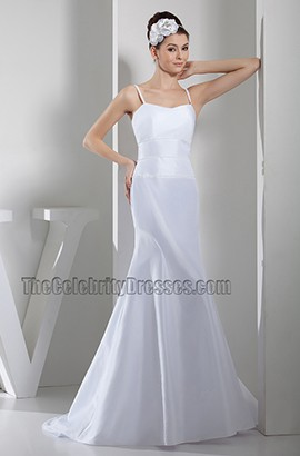 Simple Chapel Train Spaghetti Straps Taffeta Wedding Dress