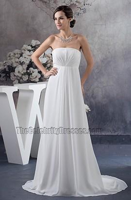 Simple Strapless A-Line Chiffon Informal Wedding Dresses